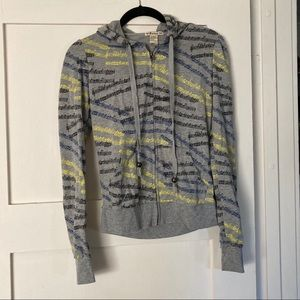Grey, blue and yellow music note hoodie